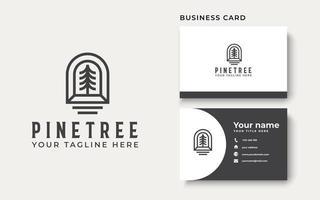 Pine Tree Lineart Logo-Vorlage in weißem Hintergrund isoliert vektor