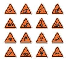dreieckige Warngefahrsymbole kennzeichnen Zeichen isolieren auf weißem Hintergrund, Vektorillustration vektor