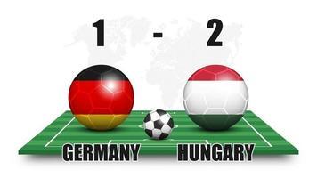 Deutschland gegen Ungarn. Fußball mit Nationalflaggenmuster auf Perspektive Fußballplatz. gepunkteter Weltkartenhintergrund. Fußballspiel Ergebnis und Anzeigetafel. Sportpokal-Turnier. 3D-Vektordesign vektor