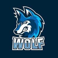 Wolf-Esport-Gaming-Maskottchen-Logo-Vorlage vektor