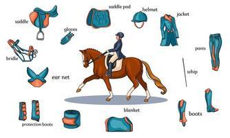 Pferdesport Infografiken Pferdegeschirr und Reiterausrüstung in der Mitte eines Reiters auf einem Pferd im Cartoon-Stil vektor