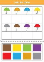 Bilder nach Farbe sortieren. süße Regenschirme. Spiel für Kinder. schneiden und Kleben. vektor