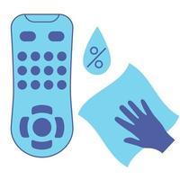 Desinfektion der TV-Fernbedienung. Reinigung der Fernbedienung, blaues Vektorsymbol. Desinfektion von TV-Clicker mit antibakterieller Serviette. Konzept zur Verhinderung der Virusverbreitung. antibakterielles Wischtuch. Vektor
