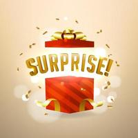 Überraschung in der offenen roten Geschenkbox. Geburtstagsüberraschung und Weihnachtsgeschenkkonzept. vektor