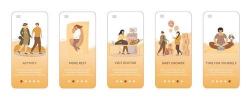 Tipps für eine glückliche Schwangerschaft beim Onboarding der mobilen App-Bildschirmvektorvorlage. Schwangere Pflege. Walkthrough-Website-Schritte mit flachen Zeichen. ux, ui, gui Smartphone-Cartoon-Schnittstellenkonzept vektor