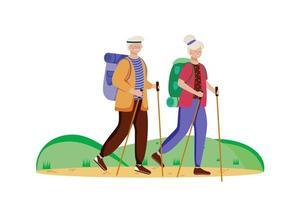 Budget-Tourismus-flache Vektor-Illustration. Wanderaktivität. günstige Reisewahl. Aktivurlaub. älteres Ehepaar auf einer Bergtour. Rundgang isolierte Zeichentrickfigur auf weißem Hintergrund vektor