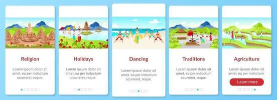 Indonesien Kultur Onboarding Mobile App-Bildschirmvektorvorlage. Sehenswürdigkeiten. Walkthrough-Website-Schritte mit flachen Zeichen. ux, ui, gui Smartphone-Cartoon-Schnittstellenkonzept vektor
