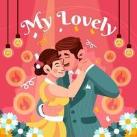 Mann und Frau tanzen mit Liebe vektor
