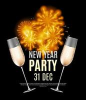 Frohes neues Jahr Party 31. Dezember Poster Vektor-Illustration vektor