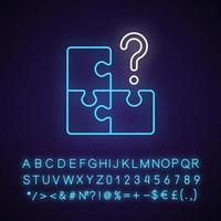 Mosaik-Neonlicht-Symbol. Suche nach fehlendem Stück. Herausforderung für die Logik. Labyrinth Puzzle lösen. äußerer Leuchteffekt. Zeichen mit Alphabet, Zahlen und Symbolen. vektor isoliert rgb farbillustration