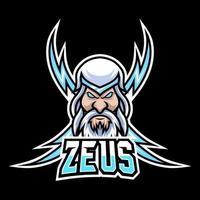Zeus Gott Blitz Maskottchen Gaming Logo Design Vektor Vorlage