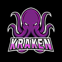 Kraken Octopus Tintenfisch Maskottchen Sport Gaming Esport Logo Vorlage für Squad Team Club vektor