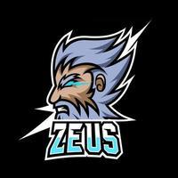Zeus God Lightning Maskottchen Sport Gaming Esport Logo Vorlage Dicker Bart Schnurrbart Für Squad Team Club vektor