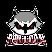Waschbär-Sport- oder Esport-Gaming-Maskottchen-Logo-Vorlage für Ihr Team vektor