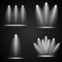 Set realistischer heller Projektoren, die Lampenkollektion mit Scheinwerferlichteffekten beleuchten vektor