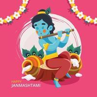 Lord Krishna spielt Bansuri vektor