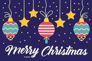 frohe frohe weihnachtsfeierkarte mit hängenden kugeln vektor