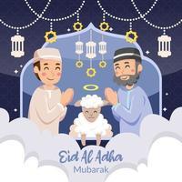 Vater und Sohn feiern Eid al Adha vektor