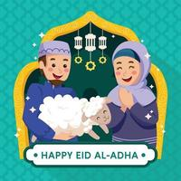 glückliche frau und mann, die eid al-adha . feiern vektor
