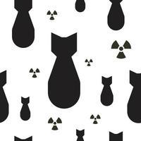 fallende Atombomben mit Strahlungssymbolen, schwarze und weiße nahtlose Vektortextur. vektor