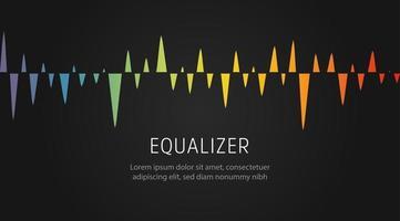 Sound-Equalizer-Muster, digitale Musikwelle, grafische Wellenlinie für Sprachmelodien, Schallwellenspektrum, buntes visuelles Signal, isolierte Vektorillustration, vektor