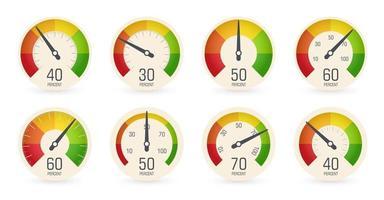 Zifferblatt Tachometer, Barometer-Logo-Set. Rundskala, Geschwindigkeit, Gewicht, Leistung, Prozentanzeige. Kraftstoff, Benzinanzeige, Armaturenbrettsymbol. isolierte Geschäftsleistungsvektor iillustration. vektor
