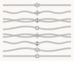 Satz nautisches Seil mit Meeressymbolen in der Mitte der Linie. Rahmenlinie, Unterstreichung, Linie für Rahmen. nahtlose Seemannsmuster. vektor