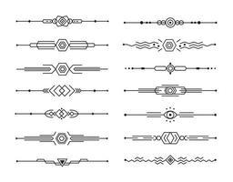 abstrakter Teiler Vektorsatz geometrischer Linien für Seitendekor, Kunstrahmen und Rahmendesign, Sammlung schwarzer Streifen auf weißem Hintergrund vektor