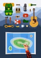 Outdoor-Erholung Wanderausrüstung Infografik auf Berglandschaft eingestellt. Rucksack-Sammlung. Touristische Handplanung Wanderroute auf Karte mit Reiseelementen. Camping-eps-Abbildung vektor