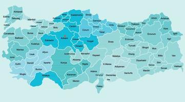 Gekritzel-Freihand-Zeichnung der politischen Karte der Türkei mit Großstädten. Vektor-Illustration. vektor