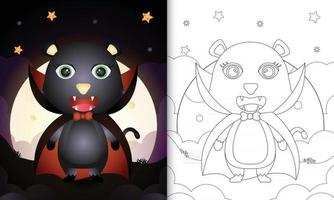 Malbuch mit einer süßen schwarzen Katze im Kostüm Dracula Halloween vektor