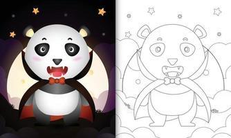 Malbuch mit einem süßen Panda mit Kostüm Dracula Halloween vektor