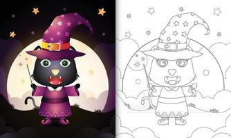 Malbuch mit einer süßen schwarzen Katze mit Kostüm Hexe Halloween vektor