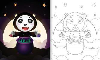 Malbuch mit einem süßen Panda mit Kostüm Hexe Halloween vektor