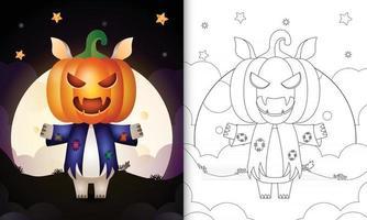 Malbuch mit einem süßen Nashorn mit Kostüm Vogelscheuche und Kürbis Halloween vektor