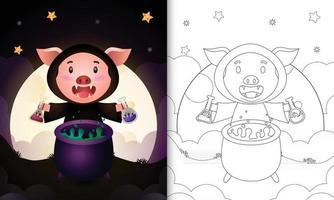 Malbuch mit einem süßen Schwein mit Kostüm Hexe Halloween vektor