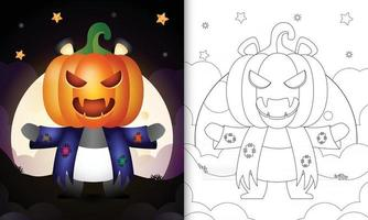 Malbuch mit einem süßen Panda mit Kostüm Vogelscheuche und Kürbis Halloween vektor