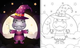 Malbuch mit einem süßen Nilpferd mit Kostüm Hexe Halloween vektor