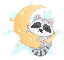 süßer kleiner Waschbär, der auf dem Mond schläft vektor