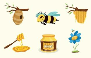 Honigbienen-Aufklebersammlung vektor