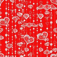 Seamless mönster av vintagehjärtan och linjer med prickar. vektor