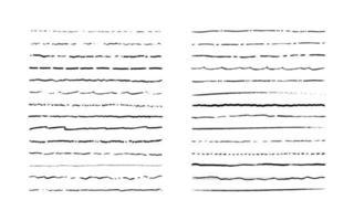 Reihe von Linien. handgezeichnete Vektorgrenzen. Vintage-Doodle unterstreicht. Cartoon-Muster-Element. Grunge-Frame-Set. vektor
