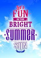 Sommertypographie auf blauem Himmel vektor