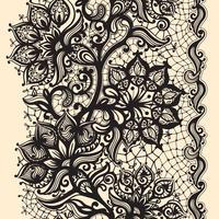 Abstrakt spetsband sömlöst mönster med elementblommor.
