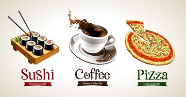 Sushi, kaffe och pizza isolerad på vitt vektor
