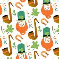 Nettes irisches Muster mit irischem Elf, Rohr, Klee, Hufeisen und Beschriftung vektor
