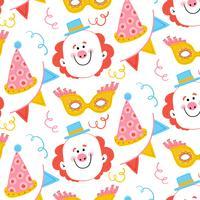 Nettes Karnevalsmuster mit glücklichem Clown, Partyhut, gelber Maske und Konfetti vektor