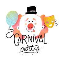 Netter Karnevals-Hintergrund mit glücklichem Clown, Maske, Ballon und Beschriftung vektor