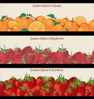 Nahtloses Muster der Himbeererdbeer- und -orangensammlung vektor