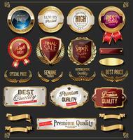 högsta kvalitet guld märken och etiketter vektor